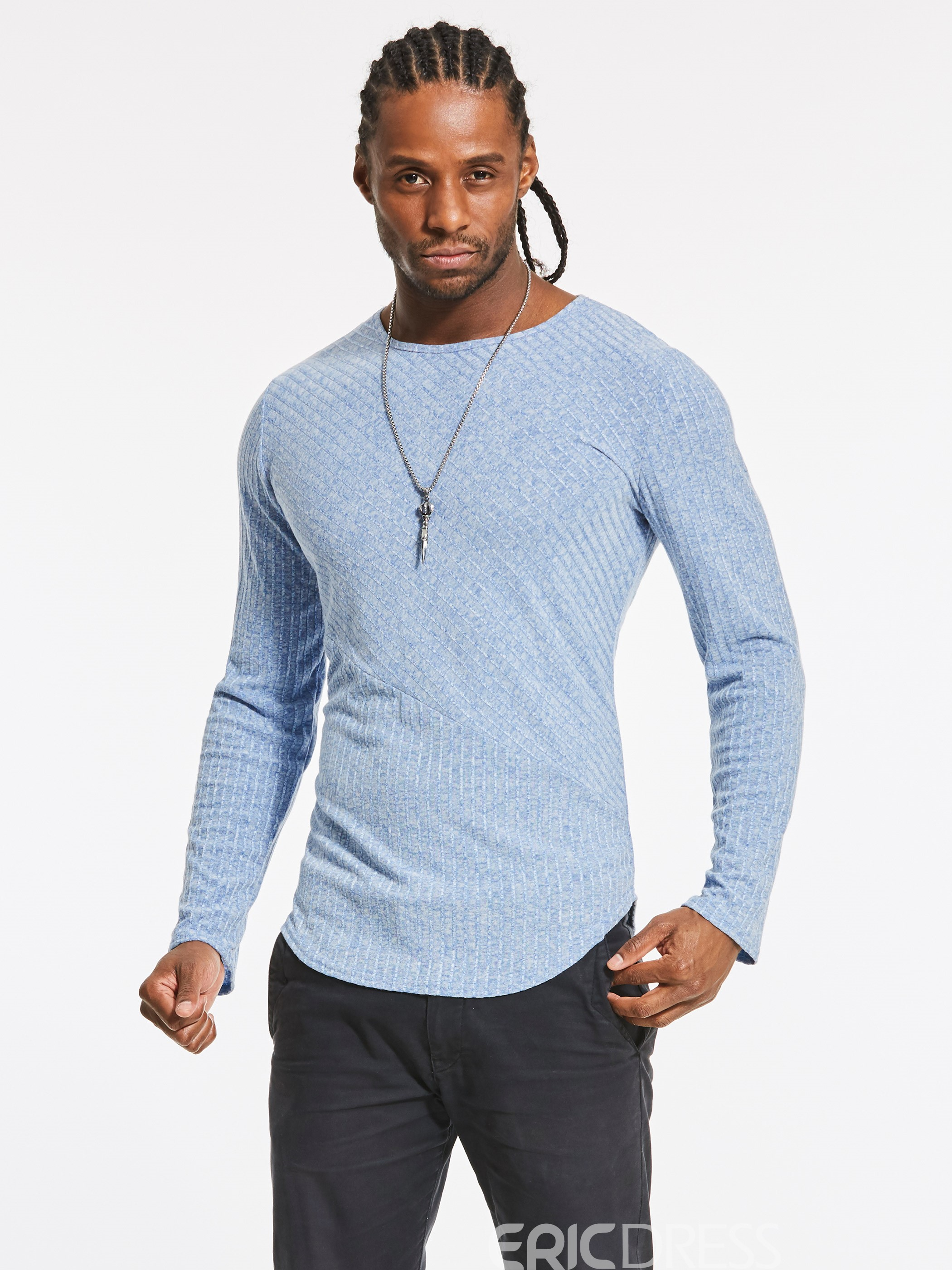 Men's Clothing Plain Scoop Slim Cotton T Shirt