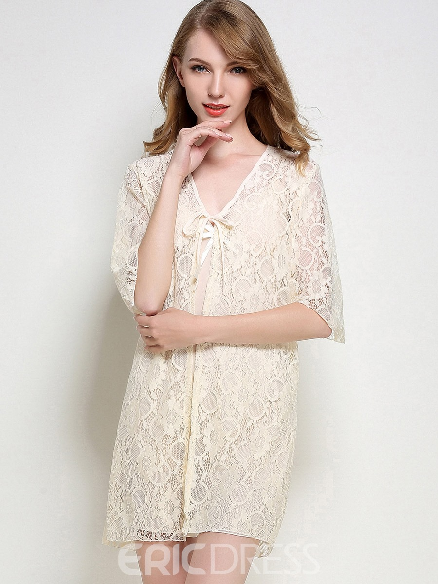 Eircdress Bowknot Night Gown and Hollow Lace-Up Robe