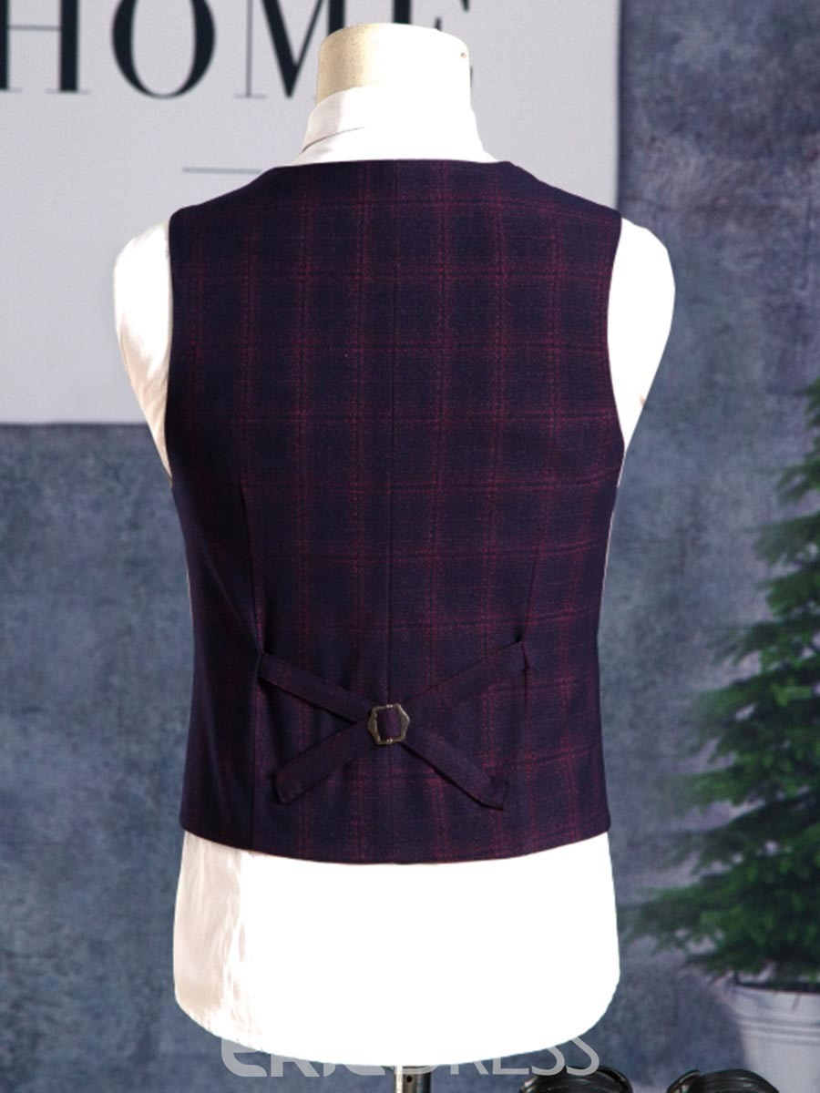 ericdress plaid couleur bloc blazer gilet pantalon hommes costume
