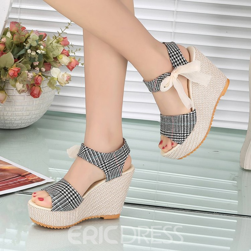 Ericdress Gingham Ankle Strap Lace-Up Open Toe Wedge Sandals