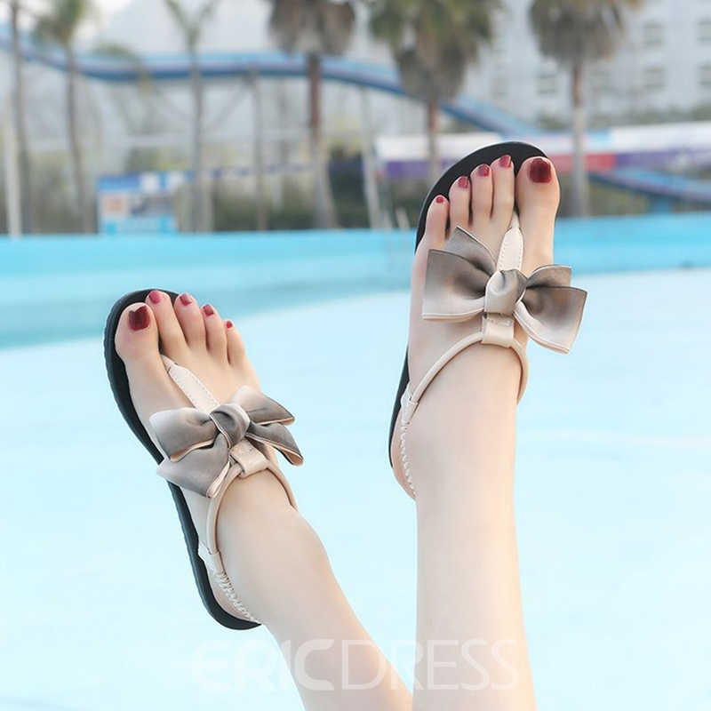 Ericdress Bowtie Thong Elastic Band Flat Sandals