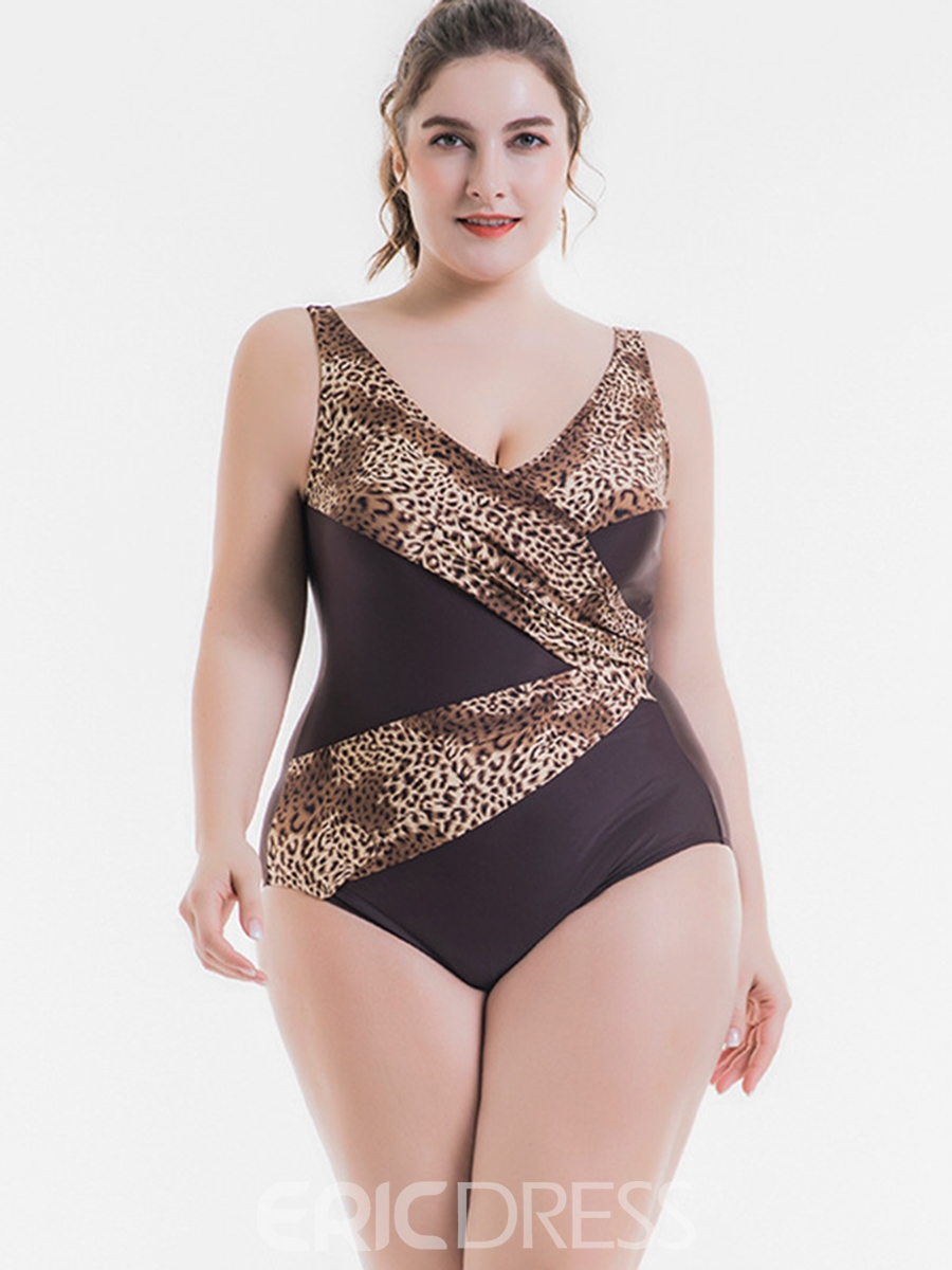 Ericdress Plus Size Leopard Patchwork One Piece Swimwear