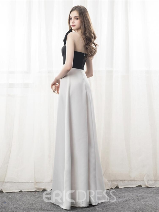 Ericdress A-Line Bowknot Black And White Evening Dress