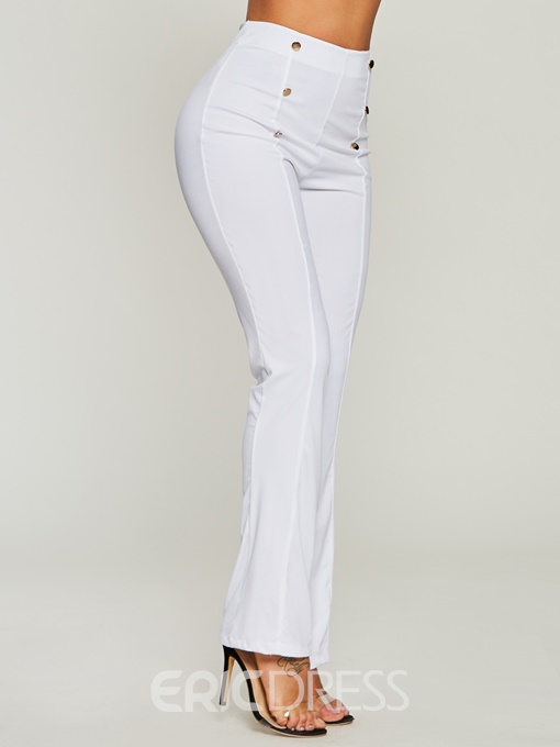 Women's Clothing High-Waist Button Bellbottoms Pants
