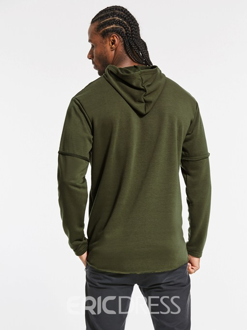 Ericdress Hooded Solid Color Holes Pullover Men's Hoodie