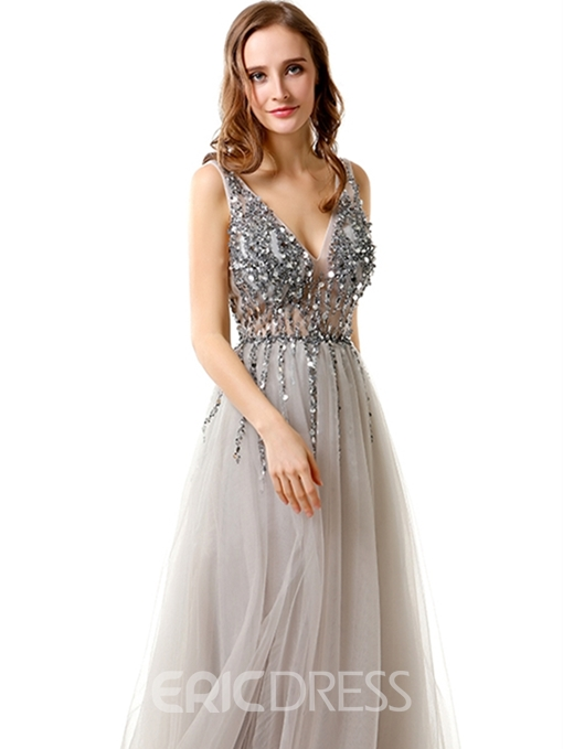 Ericdress A Line V Neck Straps Backless Evening Dress With Beadings