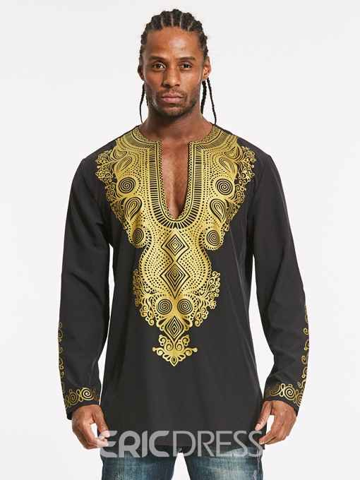 Ericdress Dashiki Color Block African Print Mid-Length Slim Men's Shirt