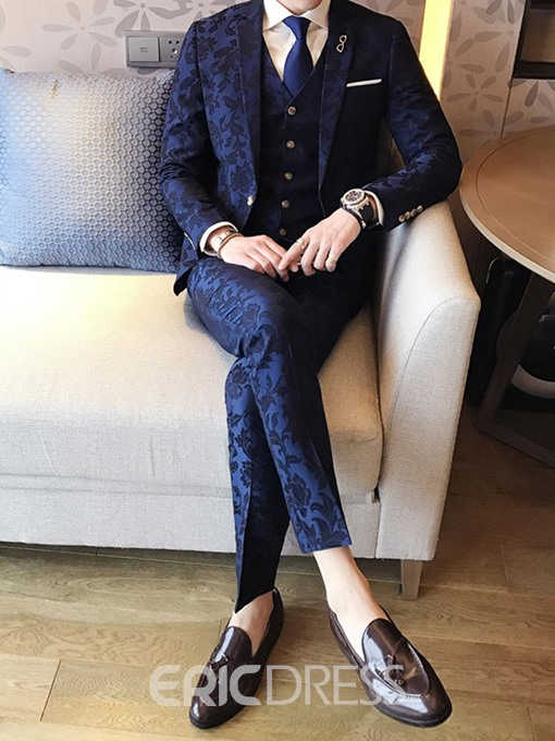 Ericdress Lapel Slim Fit Print Polyester Three-piece of Men's Suits