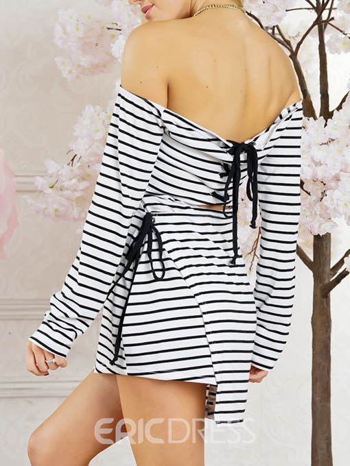 Ericdress Stripe Lace-Up Pullover Women's Casual Dress