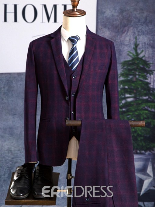 Ericdress Plaid Color Block Blazer Vest Pants Mens Suit