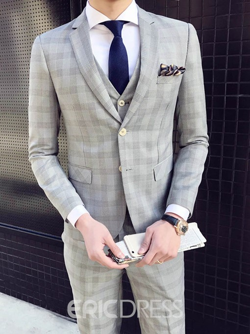 Ericdress Color Block Plaid Mens 3 Piece Suit