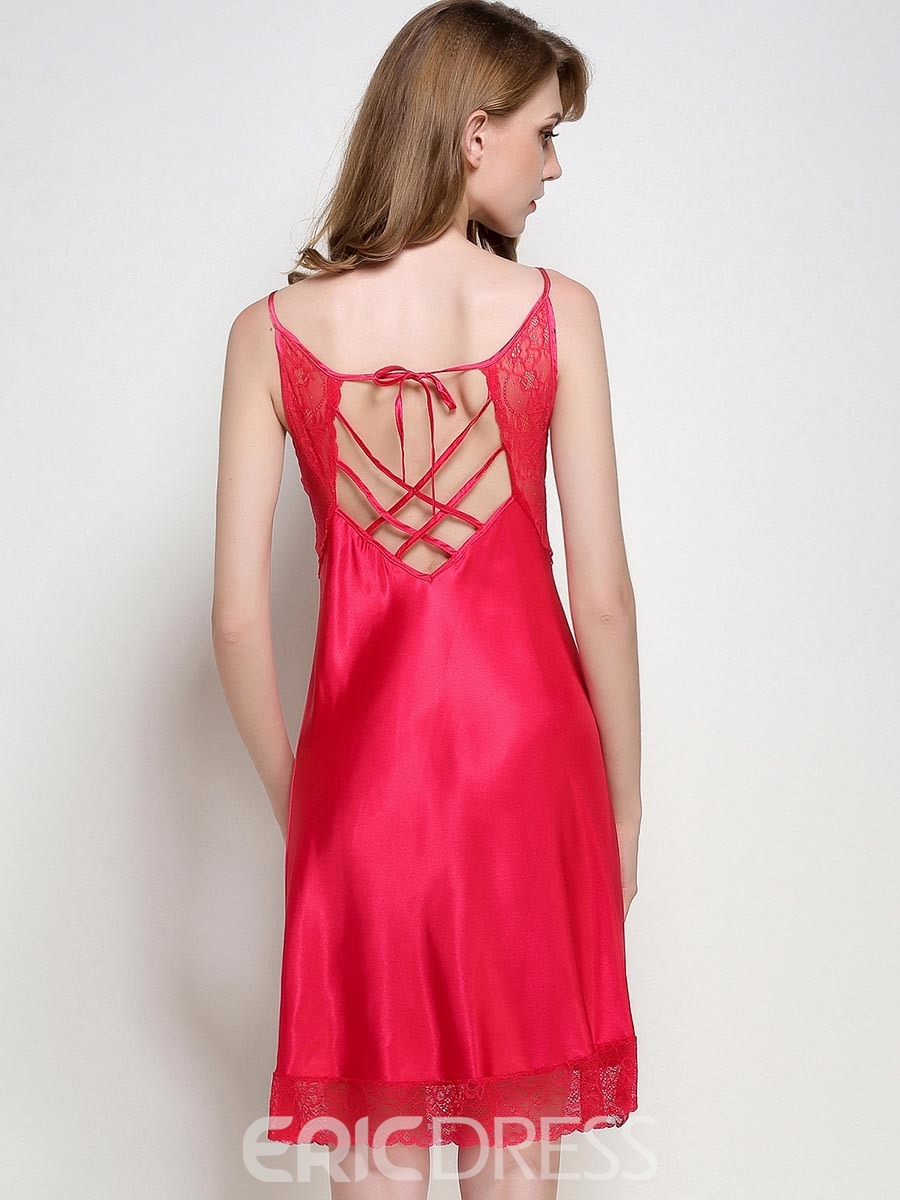 Ericdress Lace Scoop Sexy Backless Lace-Up Women's Nightgown