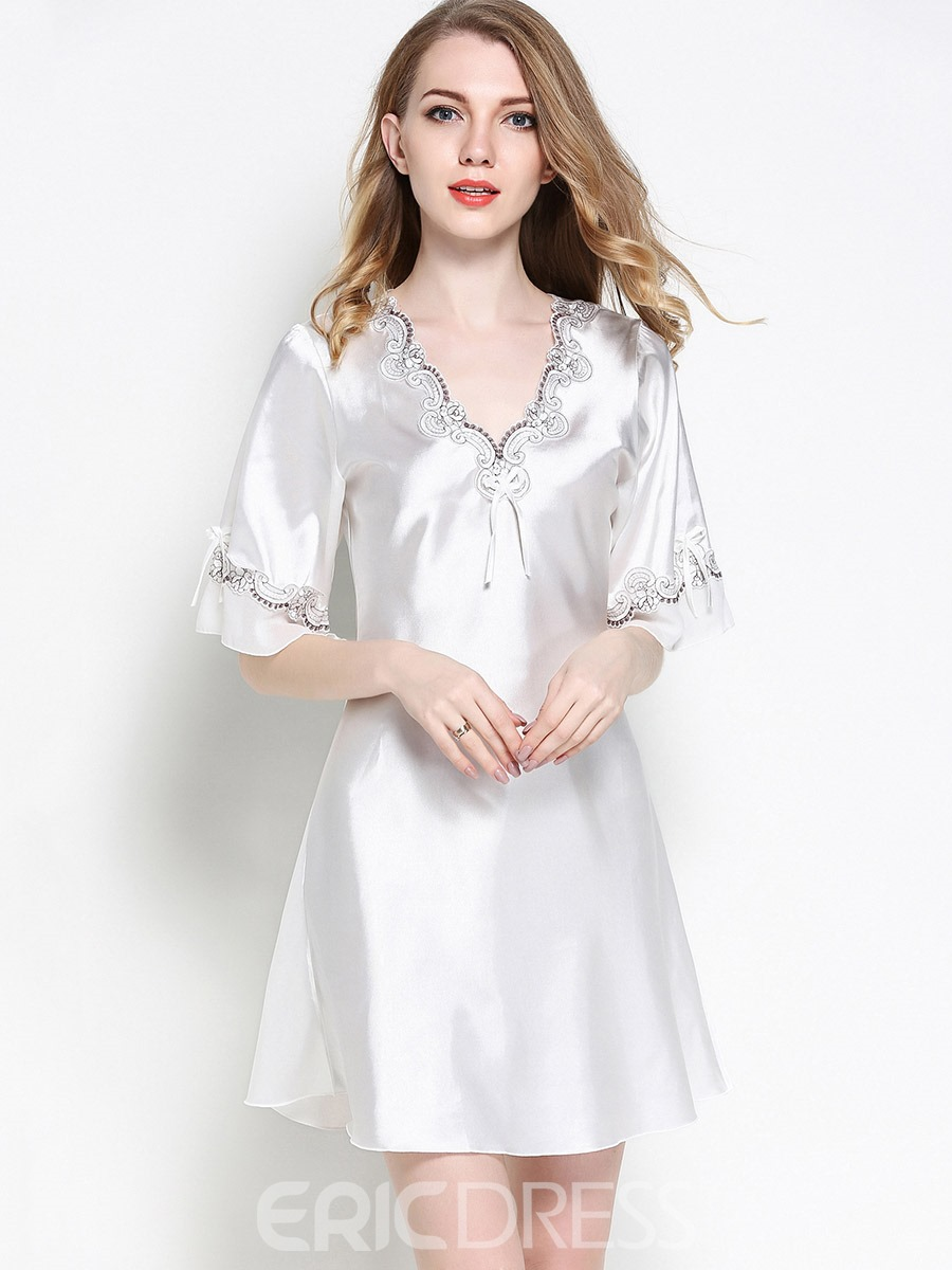 Ericdress Pajamas Lace Slim Half Ruffle Sleeve Night Gown