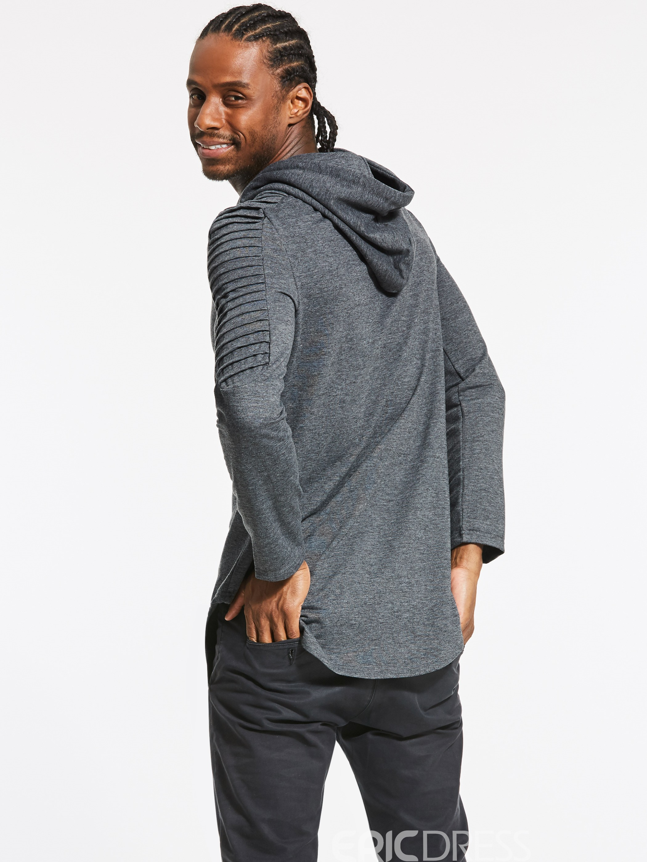 Ericdress Plain Cotton Blends Men's Pullover Hoodie