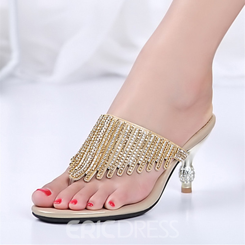 Ericdress Rhinestone Thong Slip-On Spool Heel Mules Shoes