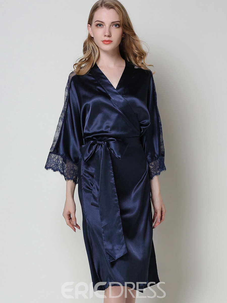 Eircdress Satin Three-Quarter Sleeve Lace-Up Long Slit Up Robe
