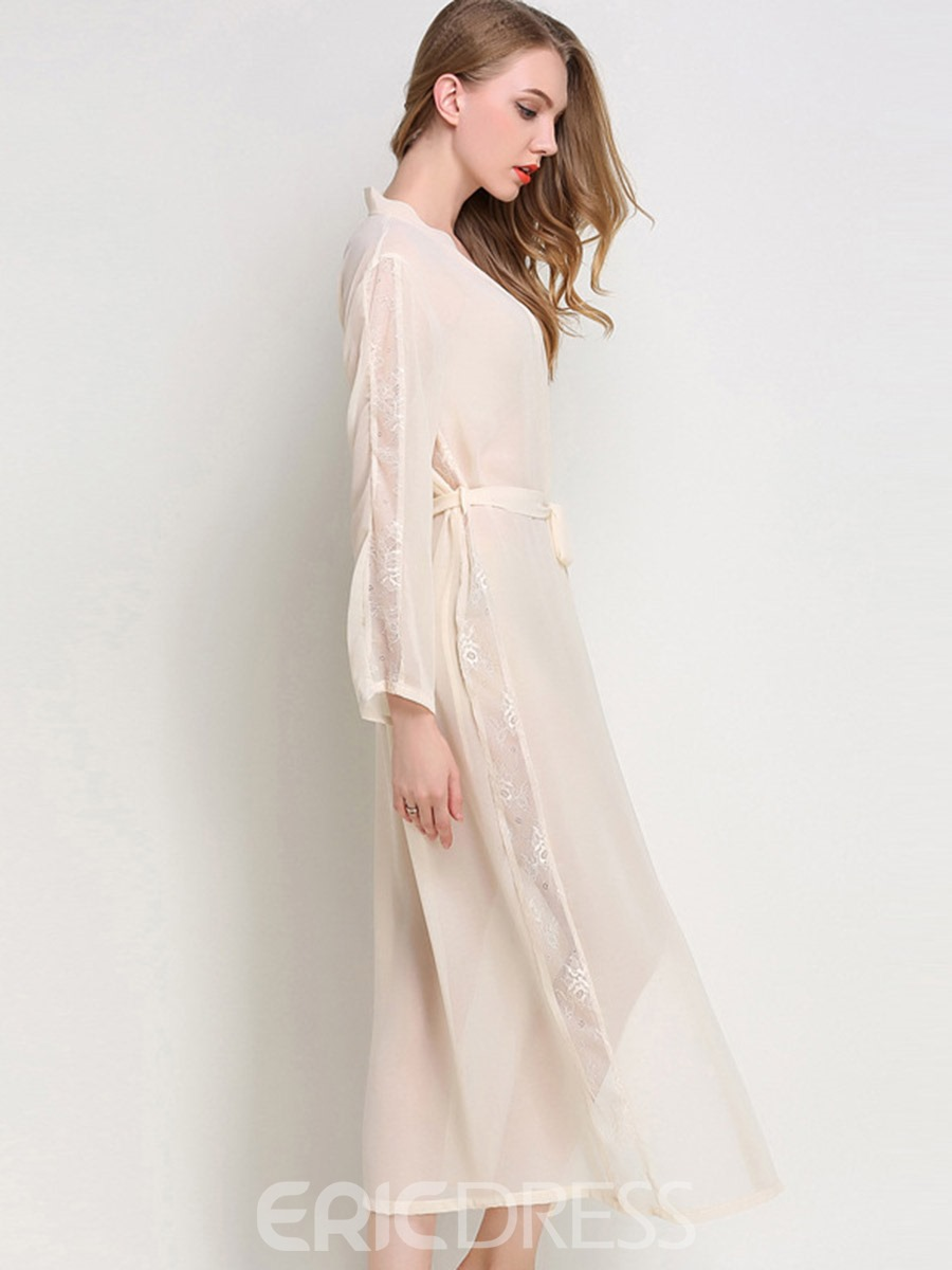 Ericdress See-Through Lace Lace-Up Long Women's Night Robe