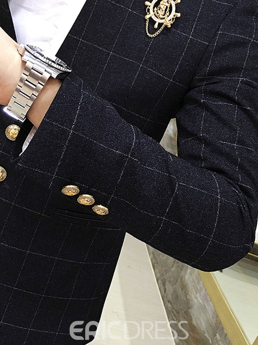 Ericdress Plaid Stand Collar V-Neck Mens 3 Piece Suit