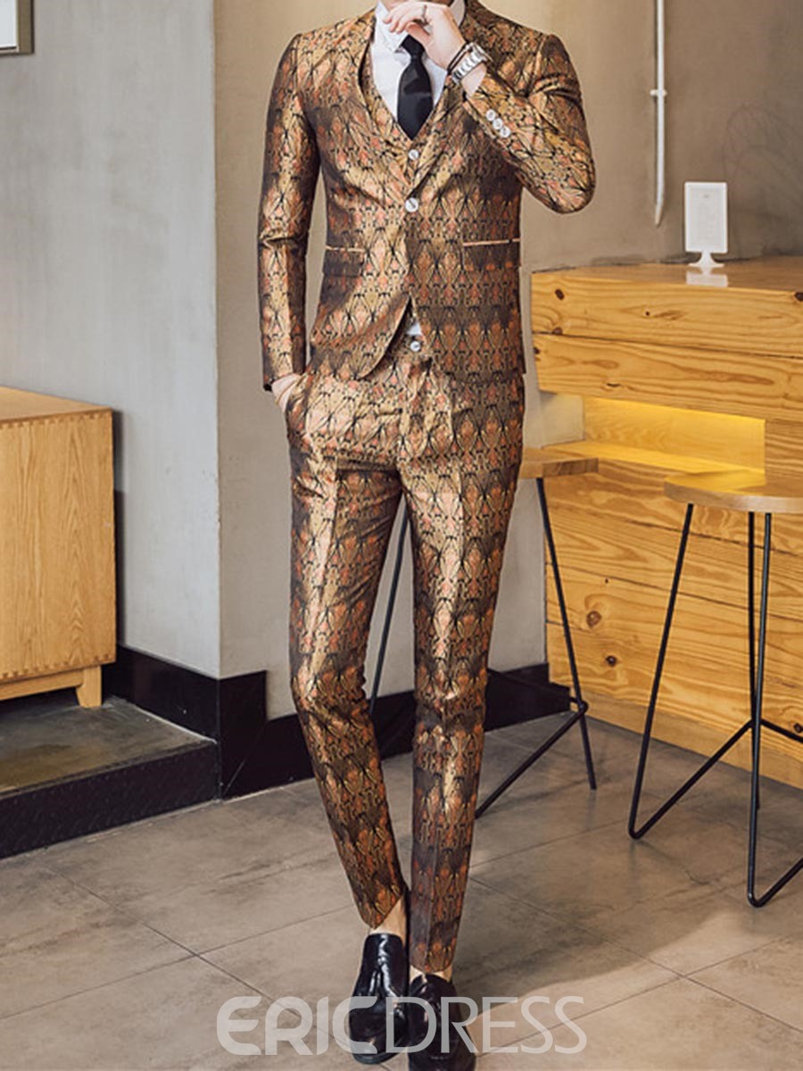 Ericdress Print Color Block Mens 3 Piece Casual Suit