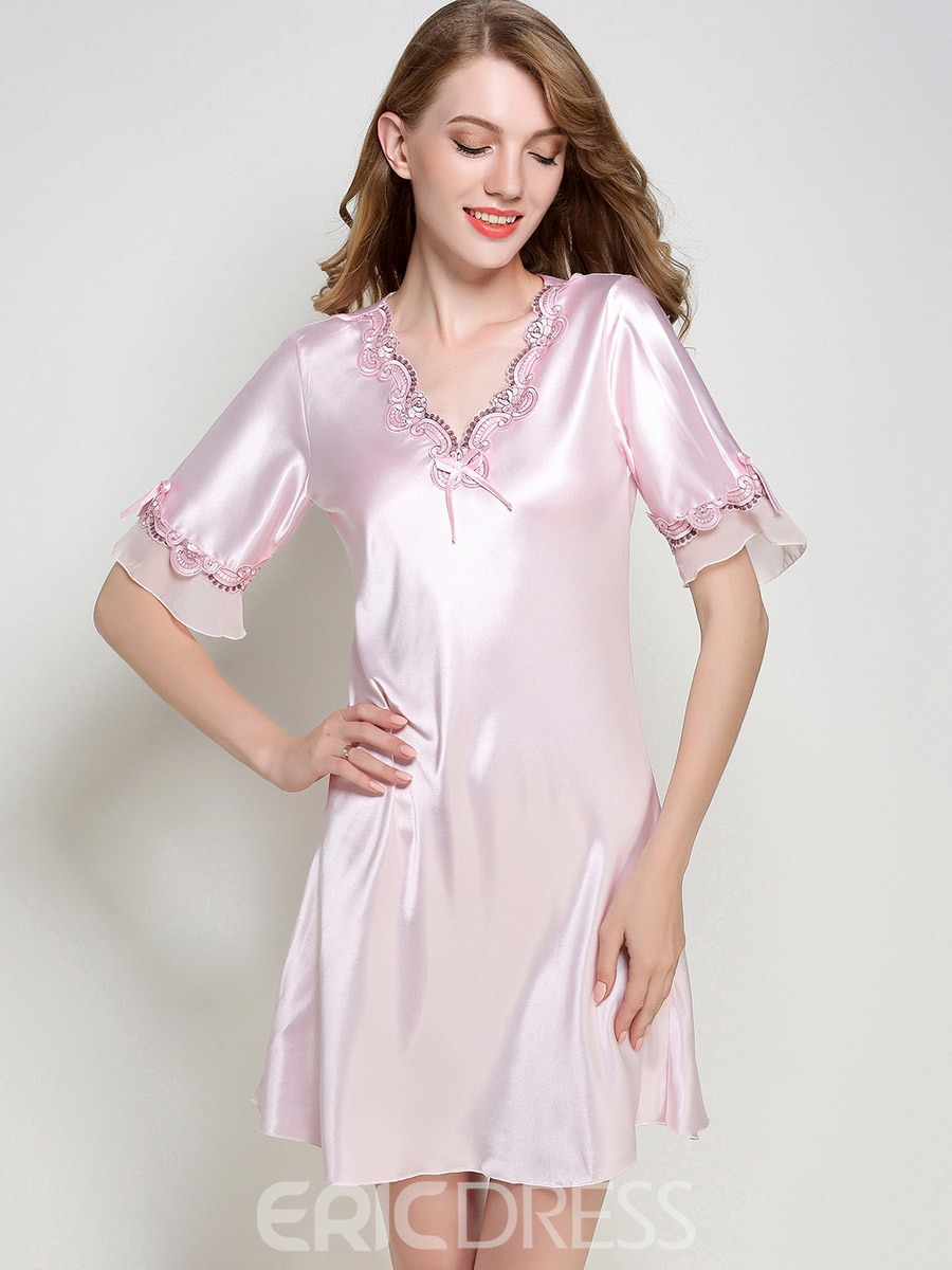 Ericdress Pajamas Lace Slim Half Ruffle Sleeve Night Gown 13225504 ...