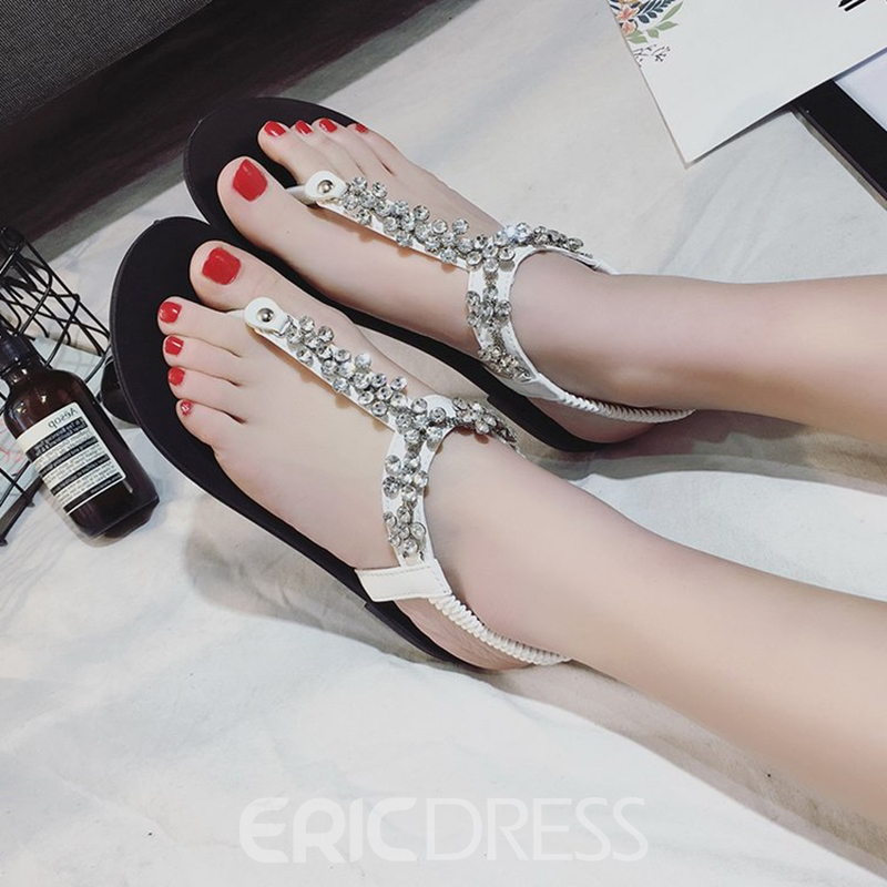 Ericdress Rhinestone Elastic Band Plain Flat Sandals