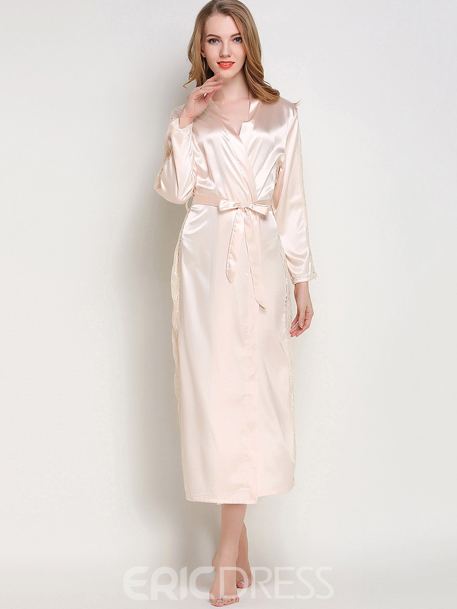 Ericdress Robe Thin Long Lace Lace-Up Night Robe