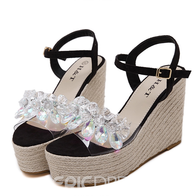 Ericdress Rhinestone Open Toe Ankle Strap Wedge Sandals