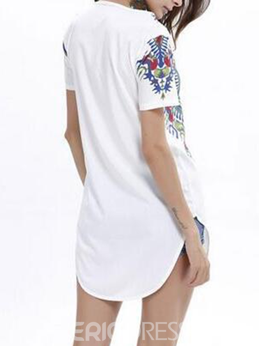 Ericdress Notch-V Print Patchwork Short Sleeve Womnes Tee