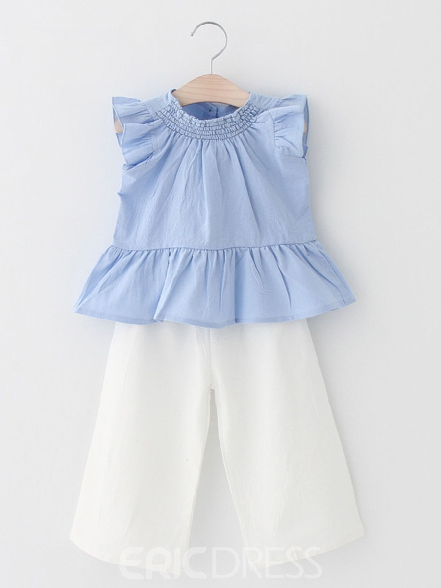 Ericdress Ruffles Plain Girl's Summer Casual Outfits