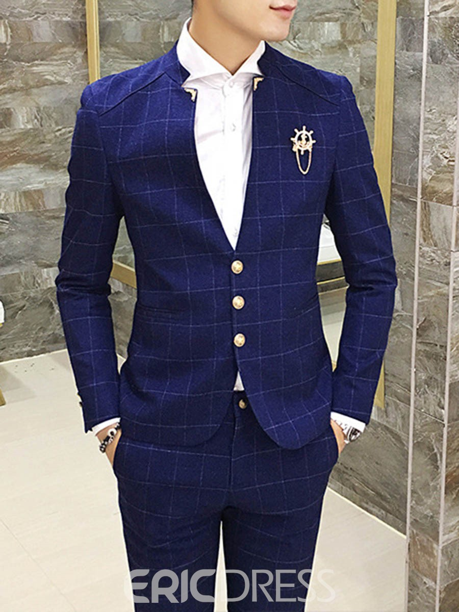 Ericdress Plaid Stand Collar V-Neck Mens Suit
