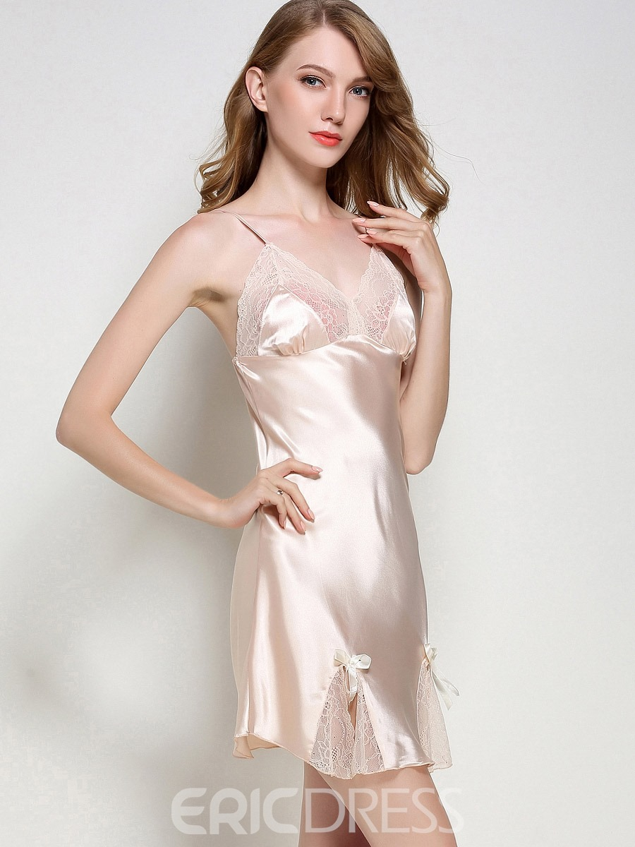 Ericdress Lace Bowknot Sexy V-Neck Summer Women's Nightgown