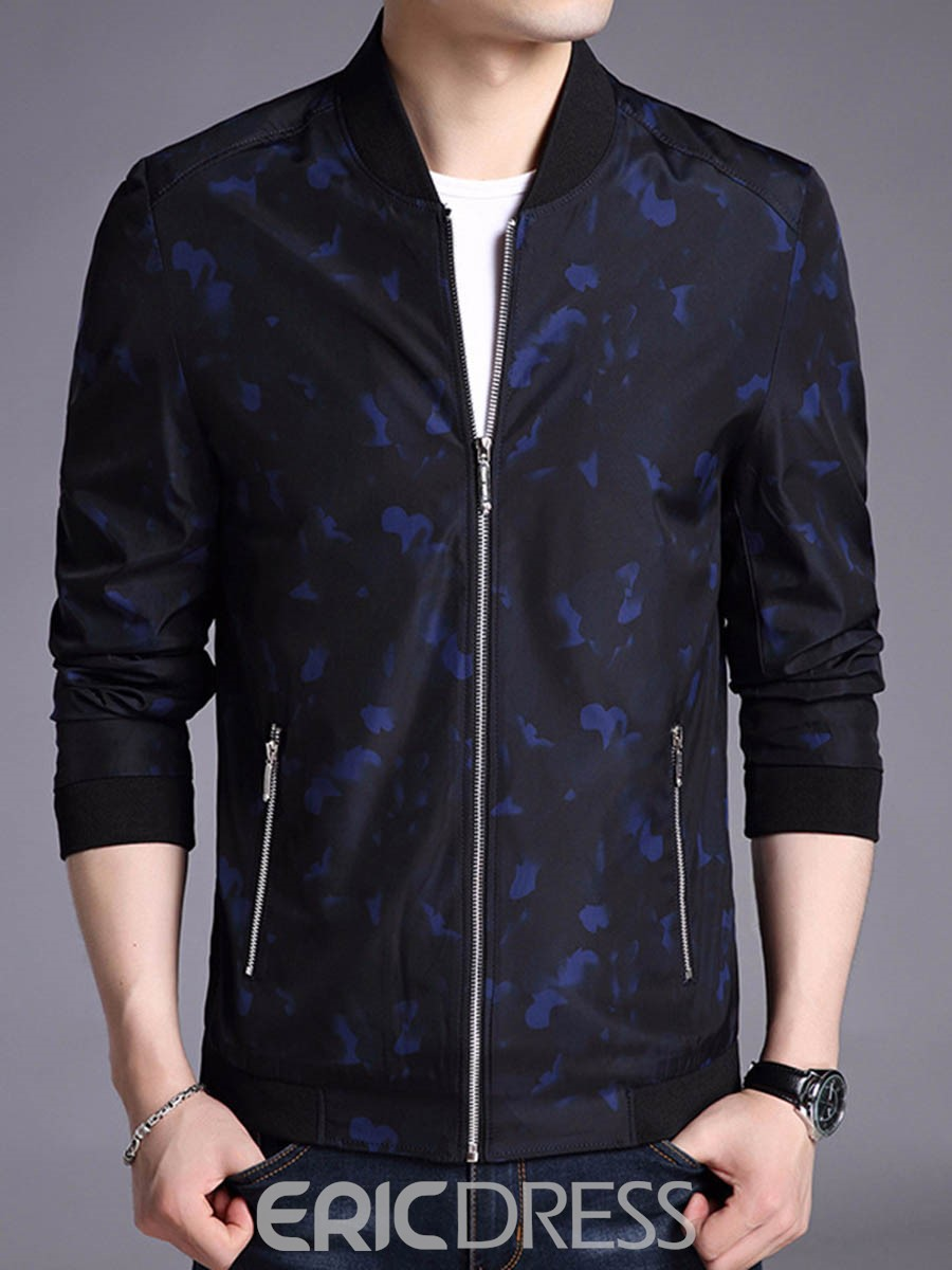 Ericdress Print Plain Thin Straight Mens Casual Jacket