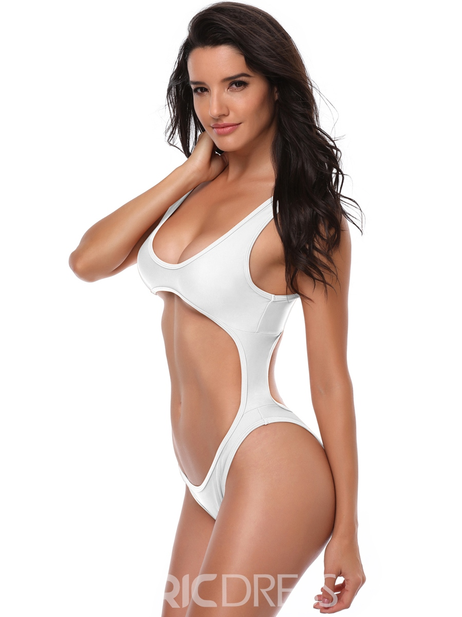 Ericdress Plain Asymmetric One Piece Swimwear Monokini