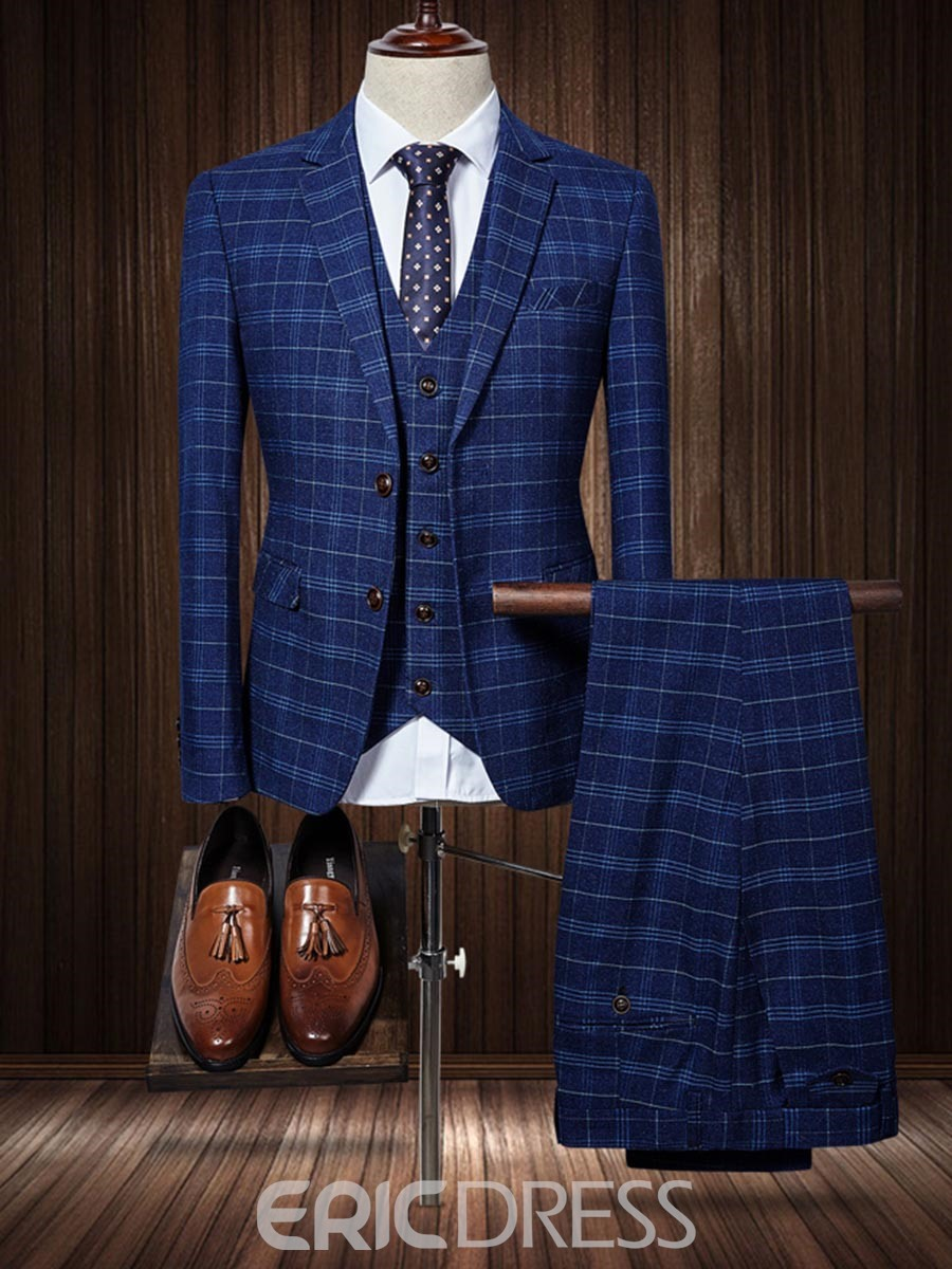 Ericdress Plaid Color Block Mens 3 Piece Suit