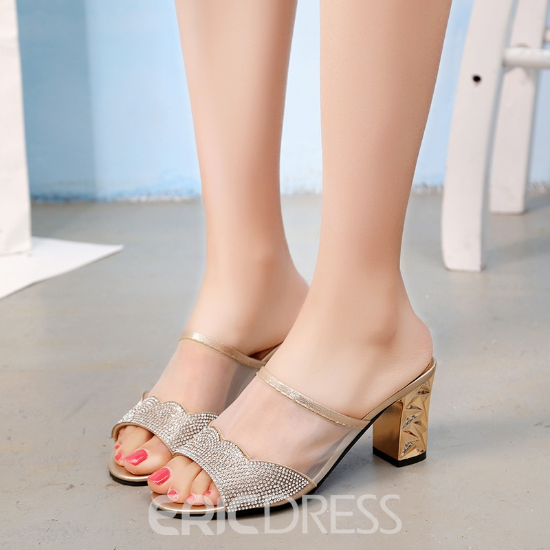 Ericdress Rhinestone Slip-On Plain Chunky Heel Mules Shoes