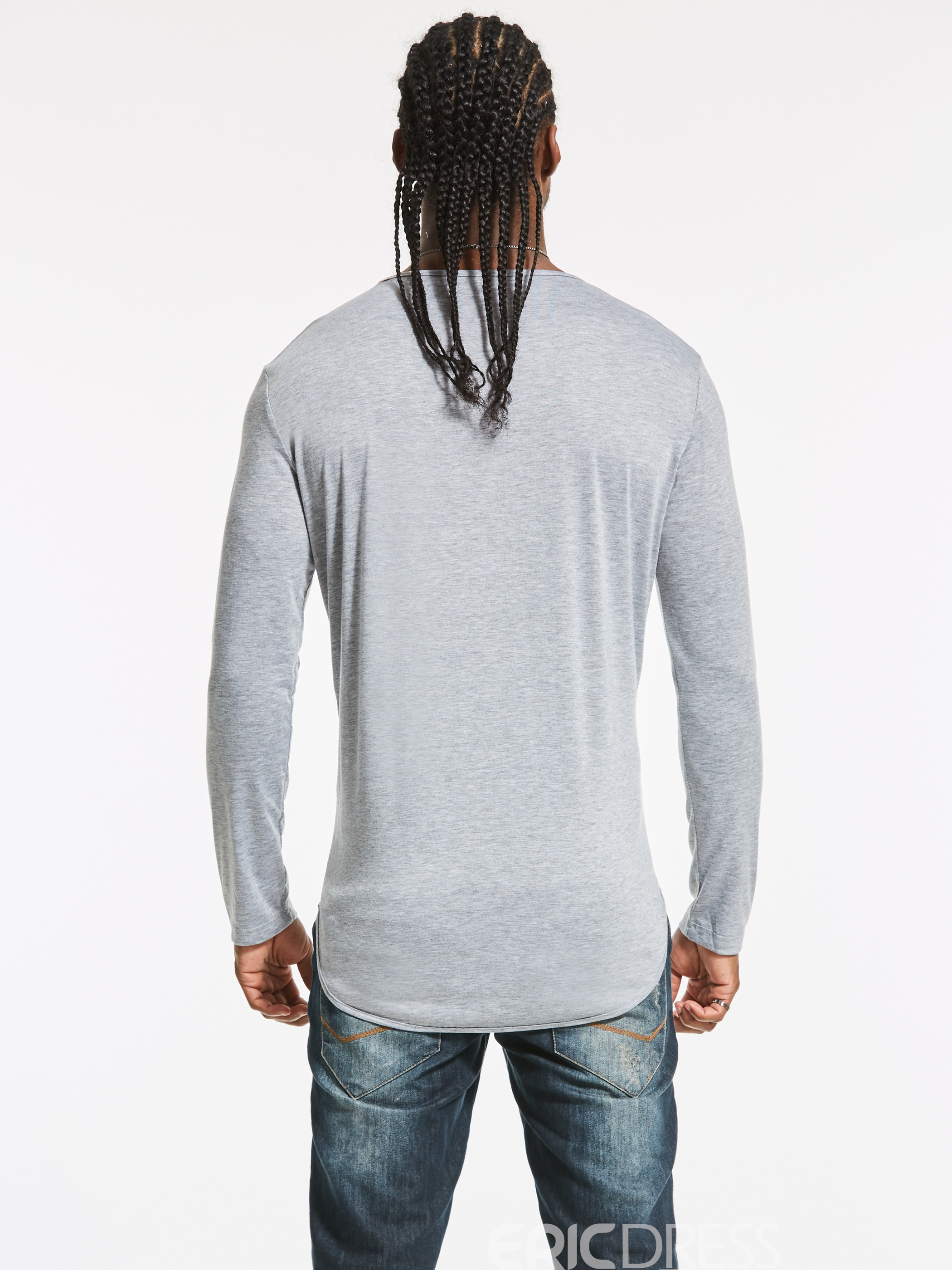 Ericdress Plain Crew Neck Long Sleeve Men's T-Shirt