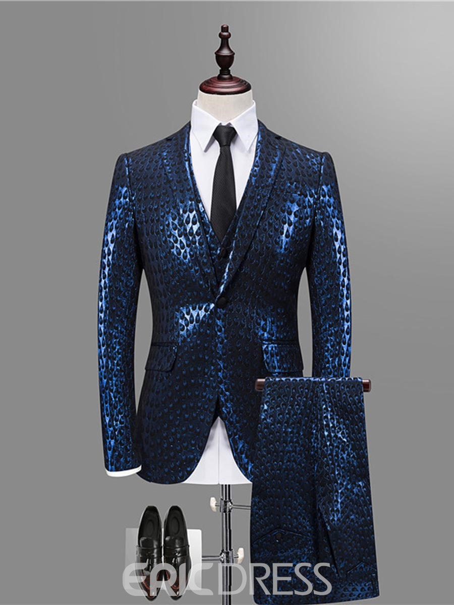 68d0e4c29e13 Ericdress Print Color Block Blazer Vest Pants Mens 3 Piece Suit(13221855)