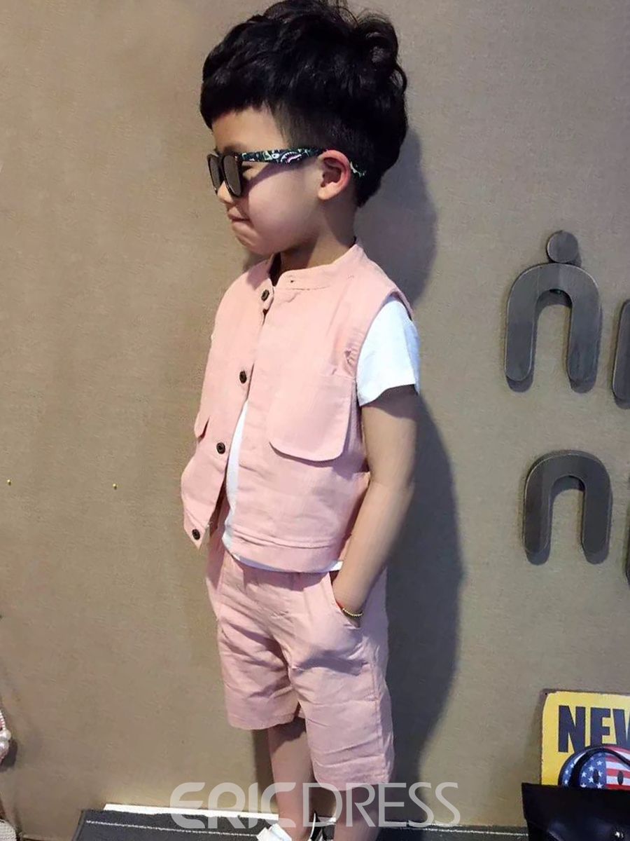 Ericdress Plain Button T Shirt Vest Pants Boy's Summer Outfits