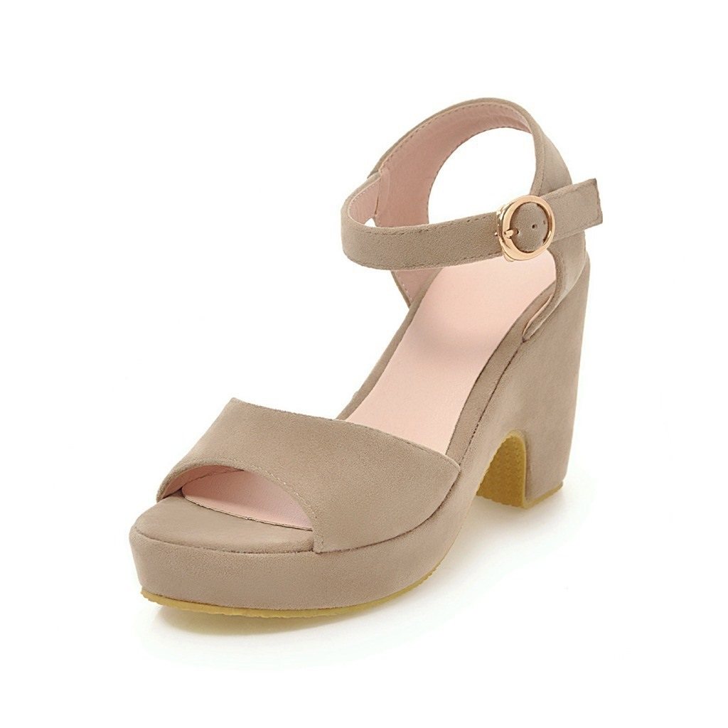 Ericdress Plain Buckle Open Toe Chunky Sandals