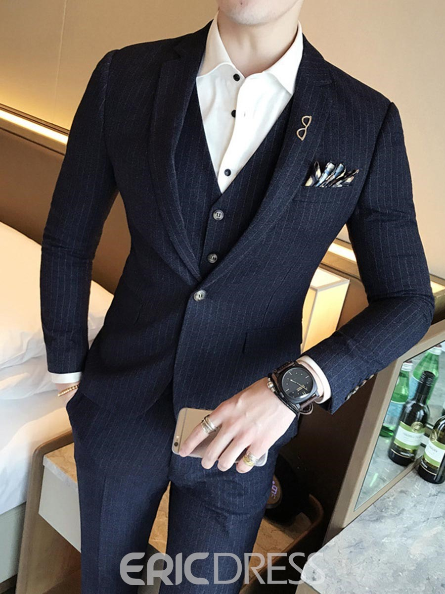 Ericdress Lapel Slim Fit Solid Color Wedding Three-piece of Men's Suits