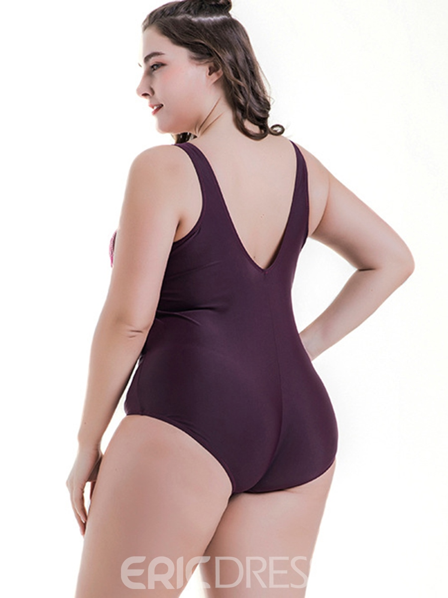 Ericdress Plus Size Pleated Color Block One Piece Swimwear