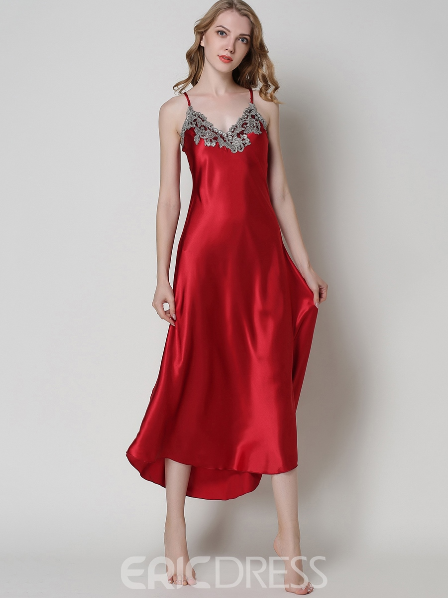 Ericdress Nightgown V-Neck Sleeveless Ankle-Length Night Dress