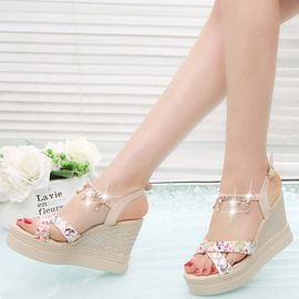 Ericdress Print Floral Open Toe Espadrille Wedge Sandals