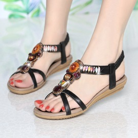 Ericdress Open Toe Elastic Band Flat Sandals with Beads