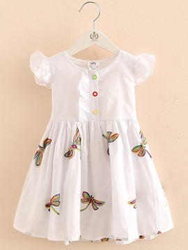 Ericdress Butterfly Print Single Breasted Girl's Short Sleeve Dress