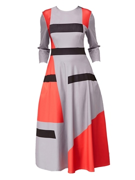 Ericdress Geometric Print Expansion Long Sleeve Women's Maxi Dress