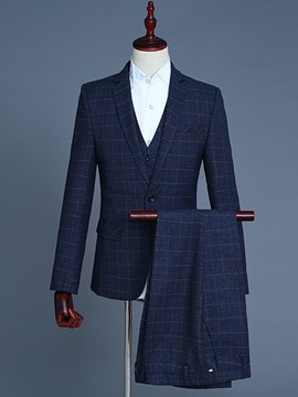 Ericdress Plaid One Button Blazer Vest & Pants Mens Suit