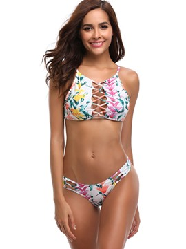 Ericdress Floral Hollow Cute 2-Pcs Bikini Suits