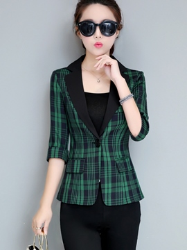 Ericdress Slim Plaid One Button Pocket Blazer
