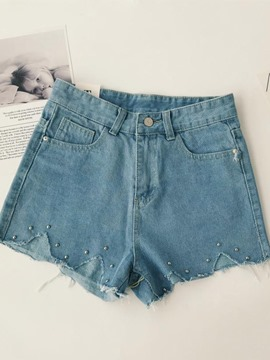 Ericdress Bead Denim Summer Women's Shorts